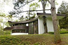 FLW, curtis meyer house. In '40s, architects, frank lloyd wright, michigan, modernism curtis meyer residence, frank lloyd wright, galesdale, michigan, semi-circular, solar hemicycle, usonian
