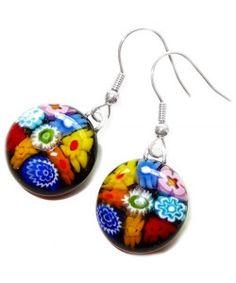 Handgemaakte oorbellen van zwart glas met multicolor bloemen van millefiori glas!