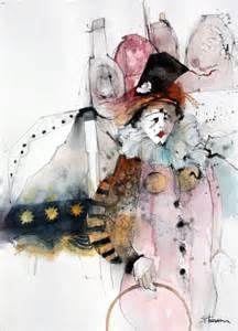 In Costume Shirley Trevena Abstract Watercolor Art, Watercolor Artists, Watercolor And Ink, Watercolor Paintings, Clown Paintings, Watercolours, Shirley Trevena, Art Graphique, Art Plastique
