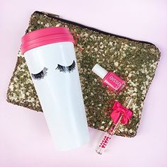 OMG I love this Eyelashes Travel Mug. Add a little glam to my morning routine. <3 (Christmas gifts under $30) stocking stuffers for college girls, teen girls, young adults.