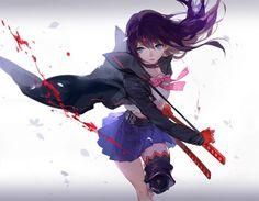anime girl pretty beautiful long hair dress sword warrior