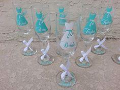 Bride bridesmaid personalized dress monogram champagne flute Tiffany blue or choose your vinyl colors 1 glass
