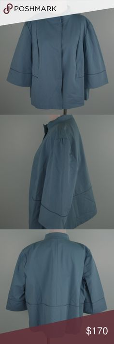 "Lafayette 148 New York XL Topper Jacket Blue Steel Lafayette 148 New York ""Nikki Snap-Front Topper Jacket"". Size XL. Color is ""Blue Steel"". New with tags. Smoke free home. Stand collar; snap front.  Three-quarter sleeves. Boxy silhouette. Cropped low on waist. 23.5"" armpit to armpit 22.5"" long (from center & base of collar to bottom of jacket at back) 23"" long sleeves (from center & base of collar to end of sleeve at back of jacket) Lafayette 148 New York Jackets & Coats"