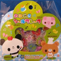 Kamio Japan Smile Friends PVC Sticker Sack by CutePaperEtc on Etsy, $3.65