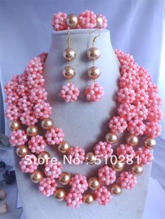 New Hot! Elegnt Fashion Pink Coral Ball Jewelry Set African Weddng Bridal $91.34