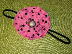 pink & black polka dot ruffled ribbon flower headband