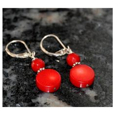 Coral Earrings, Silver Earrings, Red Earrings, Lever Backs, Sterling... ($22) ❤ liked on Polyvore featuring jewelry and earrings