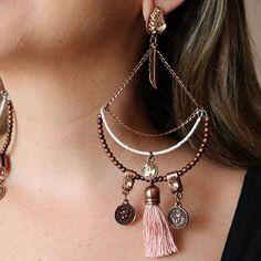 Tassel Jewelry, Statement Jewelry, Crystal Jewelry, Wire Jewelry, Beaded Earrings, Hoop Earrings, Boho Chic, Moda Boho, Rope Necklace