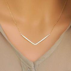 Gold V Necklace, Hammered Bar Necklace, Gold Chevron Necklace, 14kt Gold Filled, V Necklace, Hammered Precious Metal Necklace