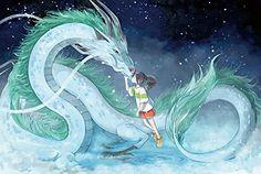 studio ghibli, spirited away, sen to chihiro no kamikakushi, haku Spirited Away Dragon, Spirited Away Haku, Studio Ghibli Art, Studio Ghibli Movies, Manga Dragon, Dragon Art, Hayao Miyazaki, Mononoke Anime, Cadre Diy
