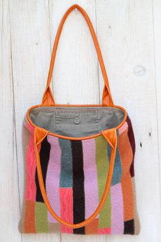 Bag made from recycled boiled wool sweaters, recycled leather pants by Karen Meyers on etsy