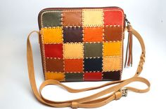 Hand stitched cross body bag Patch work leather bag Mini