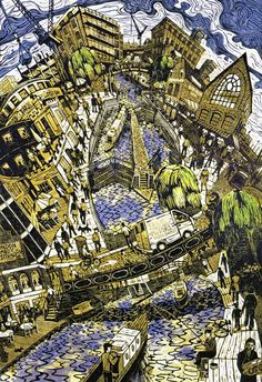 """Camden Lock"" linocut by Tobias Till. http://www.tobias-till.co.uk/. Tags: Linocut, Cut, Print, Linoleum, Lino, Carving, Block, Woodcut, Helen Elstone, Buildings, Architecture, Bridge, Vehicles, Sky, Water, River, City."