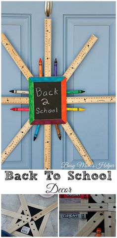 Back to School Decor / by Busy Mom's Helper. Love this unique wreath for the front door or classroom.