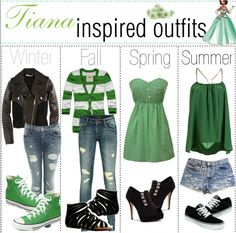 Winter, Fall, Spring, and Summer outfits inspired by Tiana.