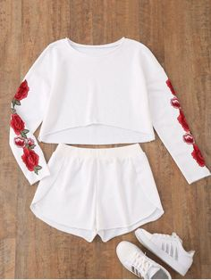 Material: Polyester : Shirt Length: Regular : Sleeve Length: Full : Pattern Style: Others : Weight: kg : Package Contents: 1 x Top 1 x Shorts: Teen Fashion Outfits, Mode Outfits, Outfits For Teens, Girl Fashion, Girl Outfits, Fashion Clothes, Fashion Top, Trendy Fashion, Womens Fashion