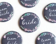 Rustic Wedding, Team Bride Pins, Floral Button, Chalkboard Badge, Wedding Name Pin, Bride Button, Hen Night, Bachelorette Party
