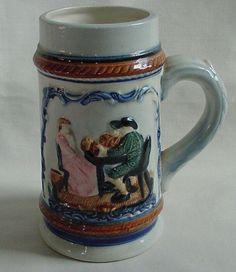 PRETTY Vintage Beer Stein Mug with Seated Man & Lady Cobalt Blue Decoration