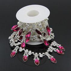 NEU 1 Yd Bänder Silber Kristall Strass Kleidung Hochzeit Verzierung Rheinkiesel