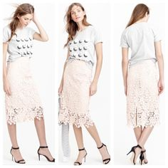 """J.Crew collection lace pencil skirt PRICE FIRM Cotton, back zip. Lined. Dry clean only. Sits above waist, 27 3/4"""". Falls below knee. True to size. No trades. All sales final. J. Crew Skirts Midi"""