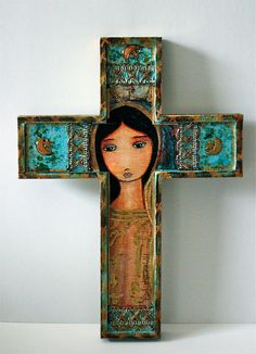 New! Virgen de Guadalupe  Wall Cross Mixed Media Art by by FlorLarios