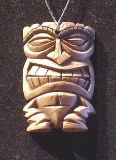 Tiki Pendants 3 by tflounder on DeviantArt Wood Carving Faces, Dremel Wood Carving, Wood Carving Patterns, Wood Carving Art, Carving Designs, Bone Carving, Wood Art, Easter Island Statues, Tiki Man