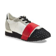 Balenciaga Mixed Media Sneaker (5,440 EGP) ❤ liked on Polyvore featuring shoes, sneakers, lacing sneakers, lace up shoes, balenciaga trainers, lace up sneakers e balenciaga sneakers
