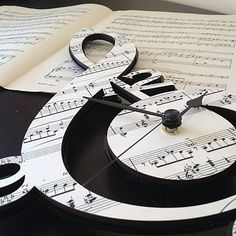 Treble Clef Vintage Music Clock by Neltempo: Genuine vintage music mounted onto birch plywood & cut using laser technology. Music Clock, Kitchen Wall Clocks, How To Make Wall Clock, Music Decor, Treble Clef, Vintage Music, Music Notes, Music Stuff, Decoration