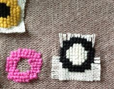 Interesting way to embellish a knit: cross stitch embroidery through linen and knit, then pull linen threads out. Hexene KNIT