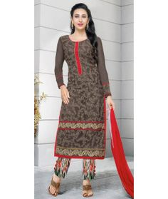 Fetching Brown And Red Georgette Straight Suit.