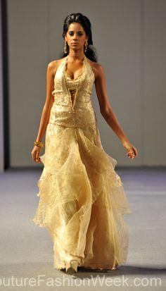 Carlos Vigil Couture Fashion Week New York 2013 #FashionWeek #Fashion #Couture #AndresAquino #Style #Women #Designer #Model #Gold #Dress