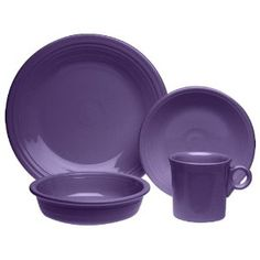 """Plum Fiestaware!  Hoping to relegate our registry dishes to be our """"formalware"""" at some point, and acquire these (and a few other bright colours) for our everyday dishes!"""