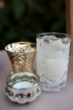 LOVE the lace wrapped around the votive holder