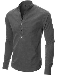 Mens long sleeve mao collar casual shirt charcoal - Mens Shirts Casual - Ideas of Mens Shirts Casual - Mens button-down shirt charcoal MODERNO Rugged Style, Style Men, Camisa Medieval, Best Casual Shirts, Gents Kurta, Herren Outfit, Mens Clothing Styles, Shirt Style, Shirt Designs
