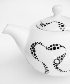 Kraken Brew Teapot - Hand Drawn, Black and White, Dots and Spots -- I can draw on porcelain!