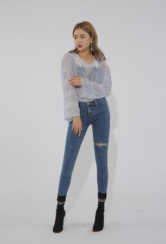 See-Through Ruched Sleeve Blouse | STYLENANDA