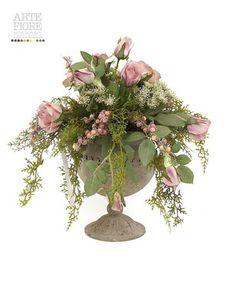 Composizione di fiori artificiali con peonie in tronco di for Come costruire un mazzo di 2 piani