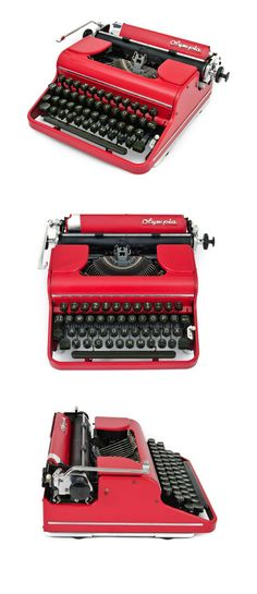 Red typewriter vintage Olympia typewriter, red home decor Best Picture For retro home decor Manual Typewriters For Sale, Vintage Typewriters, Vintage Cameras, Red Home Decor, Vintage Home Decor, Working Typewriter For Sale, Hermes, 1950s Decor, Writing