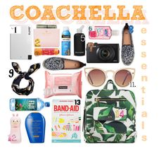 """""""COACHELLA ESSENTIALS (Link Inside)"""" by yellowgrapes ❤ liked on Polyvore featuring Kate Spade, Shiseido, Neutrogena, bkr, Innovative Technology, Tony Moly, Maybelline, Zara, H&M and Quay"""