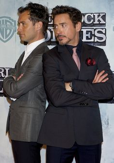 #Jude Law and Robert Downey Jr. (with his Tony Stark stach!)