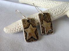 star earrings fine silver metalwork pmc