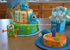 After searching through many cake decorating sites, I came up with this Cute Monster Cake Idea for my little boy's first birthday. We call him Our Little