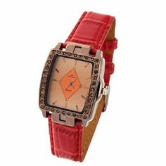 """Como Rectangle Face Women Rhinestones Red Strap Wrist Watch by Como. $6.30. Rectangle Face Women's Rhinestones Red Strap Wrist Watch.. Package Contains: 1 x Women's Red Strap Watch. Watch Case Dimension: ~1.5""""(L) x 1.2""""(W) x 0.42""""(T). Watchband Size: ~7.45""""(L) x 0.62""""(W). Weight: 37g. Description: Contemporary Women's Strap Watch is an unique accessory for you. Attractive Rectangle Face Watch with polished alloy case, stainless steel back, textured faux leather strap and r..."""