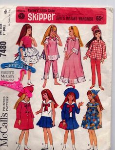 Skipper sewing patterns ~ pretty sure we had this one. Mom not only made me clothes, but my doll's clothes too.