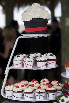 Cupcake Wedding Cake - Black, White & Red Theme
