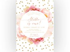 Girl Birthday Invitation, Pink and Gold, Boho, Unique, Watercolor Flower, First Birthday (323) by KReynaDesigns on Etsy https://www.etsy.com/listing/233502515/girl-birthday-invitation-pink-and-gold