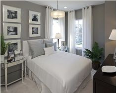 Soft Grey Wall Color Scheme and Modern White Bed Furniture in Contemporary Bedroom Interior Design Ideas Creative Decoration in Small Bedroom Interior Design Ideas Grey Bedroom Design, Small Bedroom Interior, Small Bedroom Designs, Gray Bedroom, Home Bedroom, Bedroom Decor, Bedroom Photos, Master Bedroom, Small Bedrooms