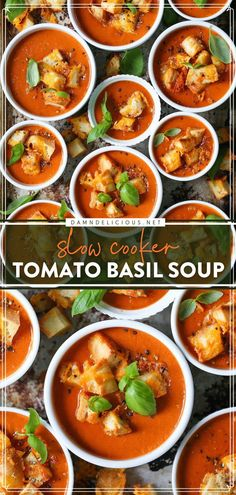 Feeling under the weather? Here's the perfect dinner idea! Just throw all the ingredients in the crockpot for this creamy Tomato Basil Soup. Easy comfort food, right? Save this slow cooker recipe!