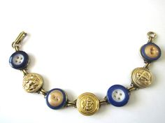 NAVAL ACADEMY, NAVY antique button bracelet. 1800s buttons. Blue & Gold. NAVY MOM, NAVY WIFE, USNA,  Navy Daughter