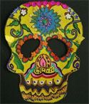Day of the Dead Art Project: print out skull (link), decorate with colored pencil, glitter, rhine stones, and acrylic paint. Make it really decorative and festive. Cut out the skull and mount it on black paper.